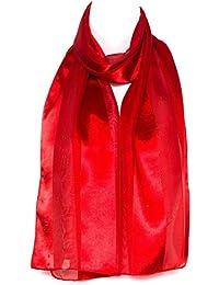 3c41c317d01a Filles Femmes écharpe en mousseline de satin foulard rayé uni châle  enveloppant