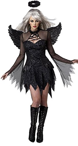 Aimerfeel-Frauen Basis-Engel Cosplay Kleid mit Flügeln der Dame gefallen Perform Kostüme Halloween, Abendkleid und Weihnachtsfest, eine Größe passte 38-40 (40 Einzigartige Halloween Kostüme)