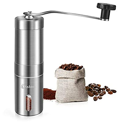 VAKOO Coffee Grinder Hand, Stainless Steel Manual Coffee Grinder with Adjustable Ceramic Conical Burr, Whole Bean Coffee Mills - Perfect for Home, Outdoor, Traveling by Vakoo