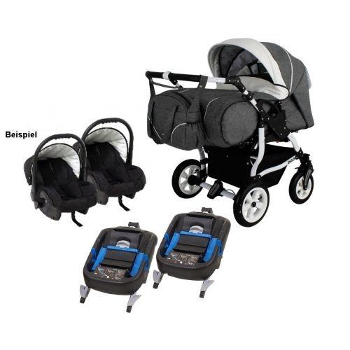 Adbor Duo Spezial 3in1 Zwillingskinderwagen mit Babyschalen und 2 Isofix Stationen, Zwillingswagen, Zwillingsbuggy Farbe D-1 beige