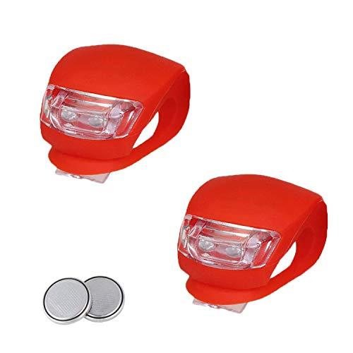 EasyULT Kinderwagen Licht[2 Stück], LED Blinklicht Clip-On Sicherheitslicht Set Silikon Leuchte Lampe Taschenlampe für Kinderwagen, Läufer, Walker, Fahrradfahrer(2X LED Rotlicht)