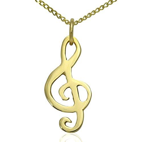 Jewellery-Joia Damen - Gold 9 Karat (375) Gelbgold einfach (Violinschlüssel Halskette Gold)