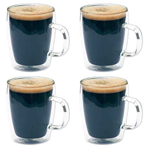 4 x Double Wall Glass Thermo Bistro Mugs - Coffee