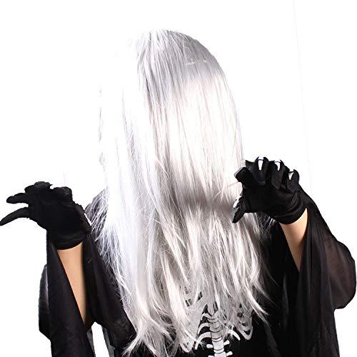 Halloween Ghost Hair Schwarz und Weiß Wig Masquerade Dekoration Requisiten Weiblichen Geist,1