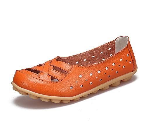 lovejin Damen Bootsschuhe Barfußschuh Weichen Leder Flache Schuhe Bequeme Fahr Schuhe Hohlen Freizeit Flache Schuhe -