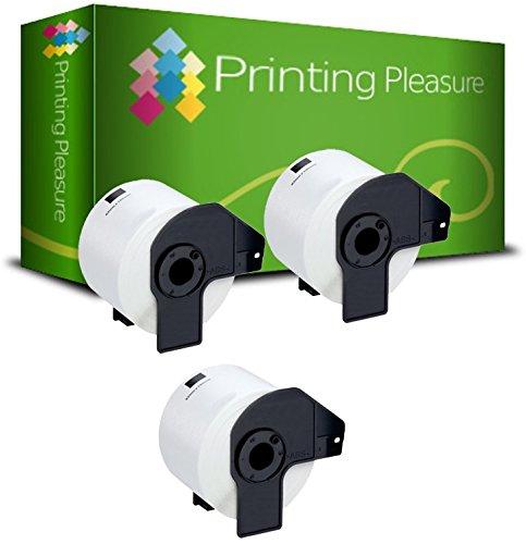 3 x DK22205 Etiquetas Continuas Compatible con Brother P-Touch QL-500 QL-550 QL-560 QL-570 QL-580N QL-650TD QL-700 QL-720NW QL-1050 QL-1060N/62mm x 30.48m/Cinta para Impresora de Etiquetas