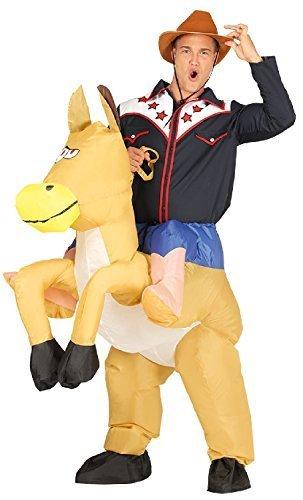 Reiten Kostüme Cowboy Pferd (Herren aufblasbar Huckepack Schritt darauf Reiten Pferd Cowboy Wilder Westen West lustig Komödie Junggesellenabschied Nacht Halloween Karneval Kostüm)