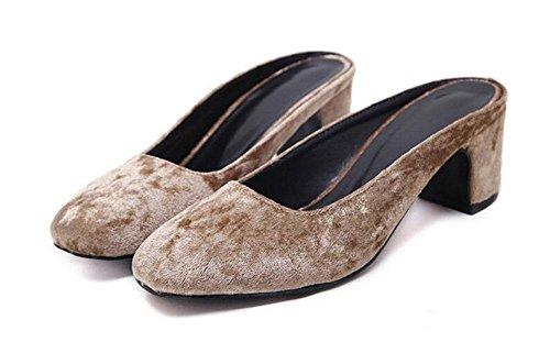 GLTER Donne Closed-Toe Pumps moda Comodo testa quadrata tacco basso del nastro sandali dei pistoni Mary Jane 35-40 UE apricot