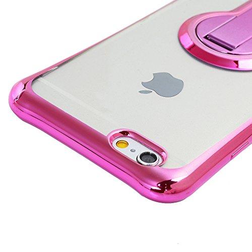 MAXFE.CO TPU Silikon Hülle für iPhone 6 6S Handyhülle Schale Etui Protective Case Cover Rück mit Ultra slim Skin TPU bruchsicher Kissen 360 Grad drehbaren Ständer Design Skin Farbe Rosé-gold Rose rot