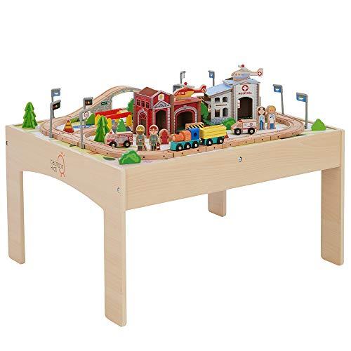 Teamson Kids- Country Train Véhicule Monde Miniature Circuit Table de Jeu Activité 85 Pièces Jouet pour Enfant, PS-T0004, Bois, Rouge