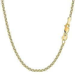 14 Karat / 585 Gold Rund Erbskette Rolo Link Gelbgold Kette Unisex - Breite 2.70 mm - Länge Wählbar (55)