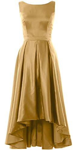 MACloth Elegant Bateau Neck High Low Cocktail Dress Wedding Party Formal Gown gold