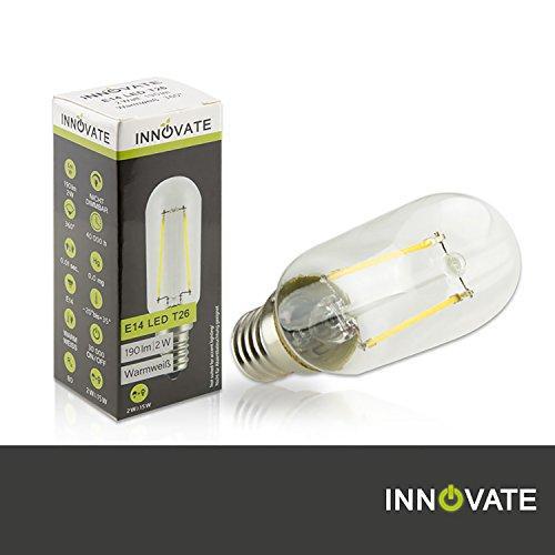 INNOVATE E14 LED Filament Glühfaden Birne Lampe T26 / 2W - ersetzt 15-20W Glühlampe, Glas/Plastik, warmweiss - 2700K, 190 Lumen, 360° Abstrahlwinkel