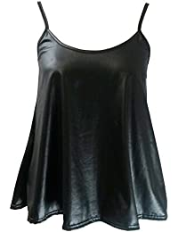 Home of Fashion Womens Black PVC Wet Look Camisole Vest Top