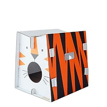 Mobilier de jeu et couchage pour chat design avec griffoir intégré (tigre)
