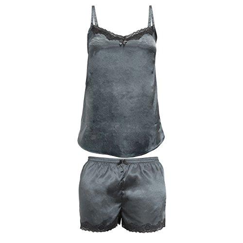 Lascana Damen Schlafanzug Grau