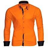 Reslad Männer Hemd bügelleicht Slim Fit Freizeithemden Business Herren Kontrast buntes Langarmhemd RS-7050 Orange Schwarz Gr XL