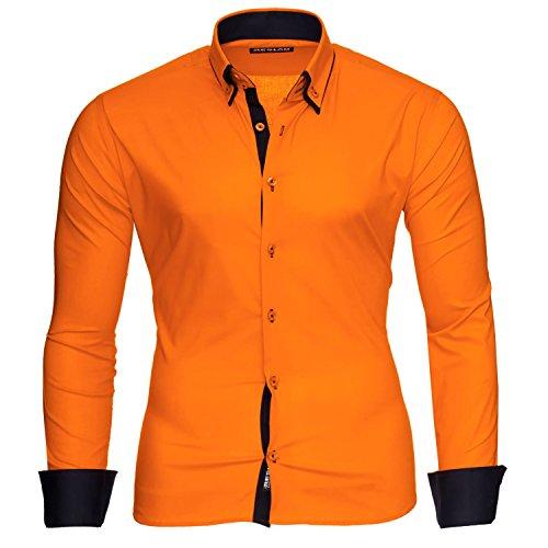 Reslad Herren Hemden bügelfreies Slim Fit Freizeithemd Männer Hemd Businesshemd zweifarbig 2 Kragen RS-7050 Orange Schwarz Gr L