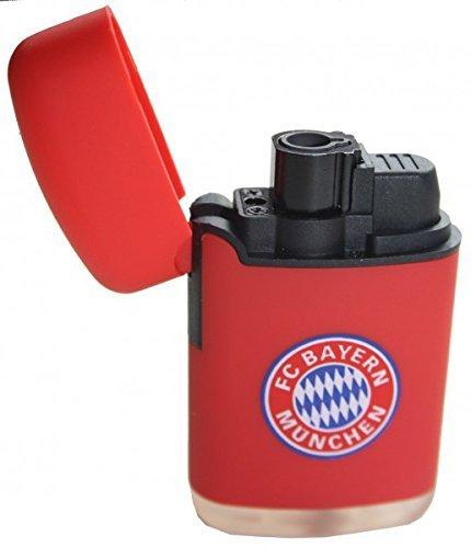 Feuerzeug rot FC Bayern München + gratis Sticker, FCB, Sturmfeuerzeug, Jet Feuerzeug