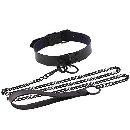 zigartige Halskette,Ketten für Damen,Frauen Männer Sexy Diablo Alternative Personality Leder Kragen Halskette, Schwarz Stud O-Neck Kragen@schwarz ()