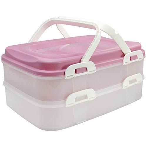 COM-FOUR® Partycontainer Transport-Box, Kuchenbehälter und Lebensmittelbox mit 2 Etagen und Hebeeinsatz, in rosa pastell (001 Stück - rosa pastell) - Pastell-behälter
