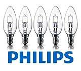 Confezione da 5 lampadine 42W Philips B35Eco Classic, a risparmio energetico, alta qualità, luce alogena con attacco a vite E14, a forma di candela, finitura trasparente