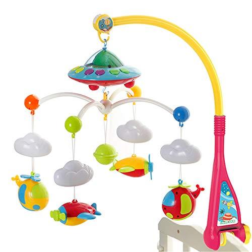 LULU Neugeborenes Baby Spielzeug Projektionsbett Glocke Musik Rotation Lernspielzeug Baby Nachtklingel Rassel Drehen Sie Die Glocke 0-1 Jahre Alt (Bausteine Party-platten)