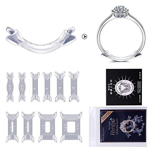 JEANS DREAM Regolatore di Dimensioni Dell\'anello Ring Sizer per Tutti Gli Anelli 10 PCS con Panno per lucidatura