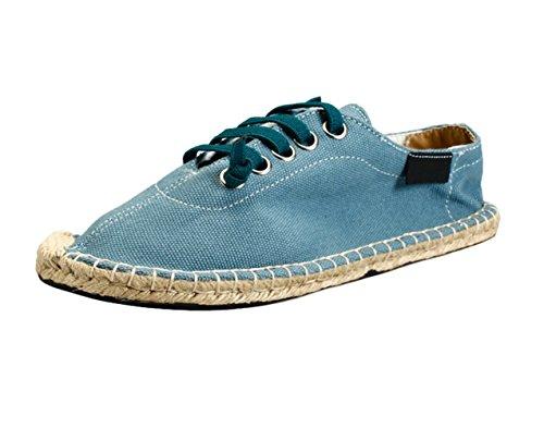 Insun Unisex Alpargatas de Cordones Zapatos Moda Suela Cuerda de Yute Azul 37 EU