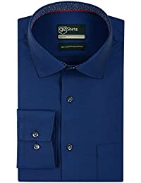 [Sponsored]GE Shirts Men's 100% Egyptian Giza Cotton Business Formal Relaxed Slim Fit Navy Blue Twill Shirt With Complementary...