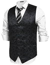 Hasuit Homme Gilet Costume Veste Sans Manches Imprimé Business Mariage Taille S-XXL