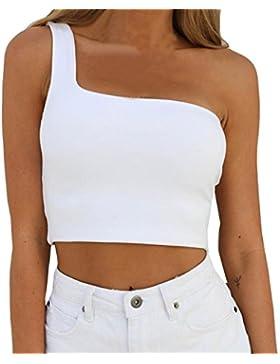 Camiseta Sin Mangas🌱EUZeo🌱Sujetador Sin Espalda Tunica Mujer Blusas de Mujer Elegantes de Fiesta Blusa Hombros...