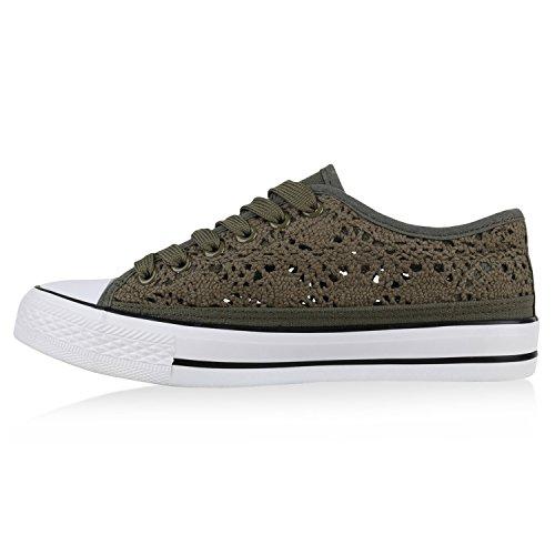 Damen Sneakers Spitze | Sneaker Stoffschuhe | Sportschuhe Basic | Freizeit Schuhe Dunkelgrün
