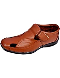 Men's Sandals Faux Leather Brown Casual Soft Leather Men SANDALS By RR Traders