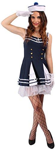 rosenkostüm blau-weiß für Damen | Größe 40/42 | 1-teiliges Marine Kostüm | Matrosin Faschingskostüm für Frauen | Kapitän Verkleidung (Seemann Kapitän Frauen Kostüm)