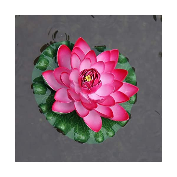 Guanjer Artificial Floating Foam Lotus Flowers With Water Lily Pad