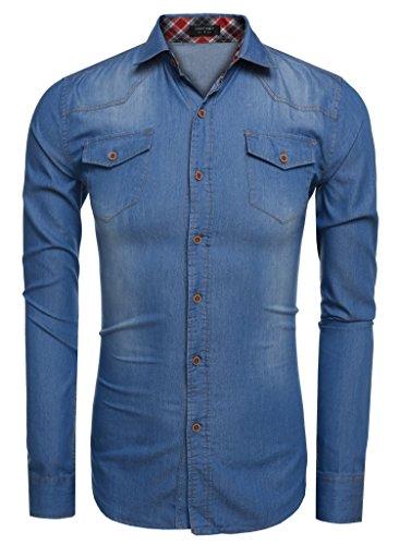 Aulei Herren Jeanshemd slim fit aufwendiges Denim Shirt Langarm used look Hellblau