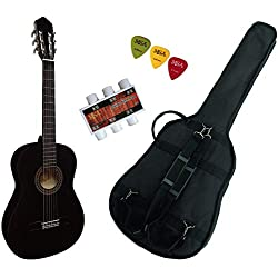Pack Guitare Classique 4/4 (Adulte) Gaucher Avec 3 Accessoires (noire)