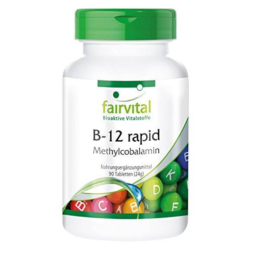Fairvital B-12 rapid als Methylcobalamin, vegan, Vitamin B12 500µg mit Folsäure, Biotin, Vitamin B6 & Bioflavonoiden, 90 Sublingual-Tabletten mit Acerola-Geschmack - für mehr Energie und starke Nerven (Lebensmittel, 90 Lutschtabletten)