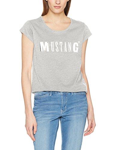Mustang Damen T-Shirt Logo Tee, Grau (Light Grey Melange 4141), 42 (Herstellergröße: L) (Grau-logo-t-shirt)