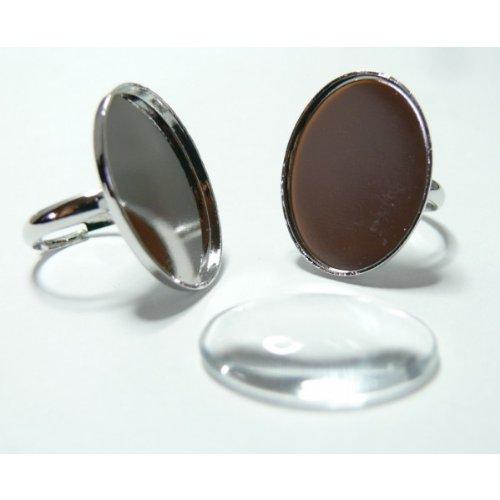 4 pièces: 2 pieces PP oval bague fine 25 par18 mm et 2 cabochons