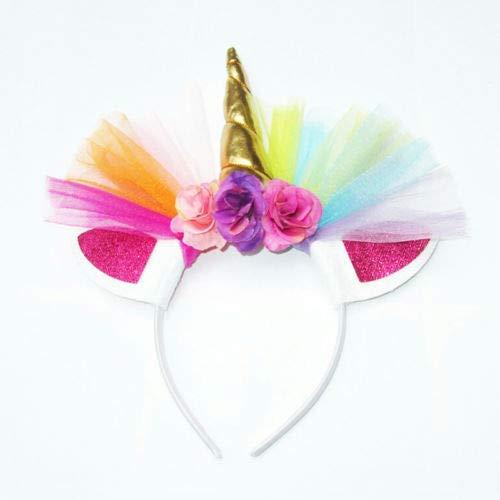 Macxy - Kreatives Geschenk Schöne Elastische Blumen-Spitze-Einhorn-Horn-Kopfschmuck Mädchen Dekorative Stirnband-Partei-Dekoration Halloween-Kostüm [Gold (Naruto Cosplay Kostüme Uk)