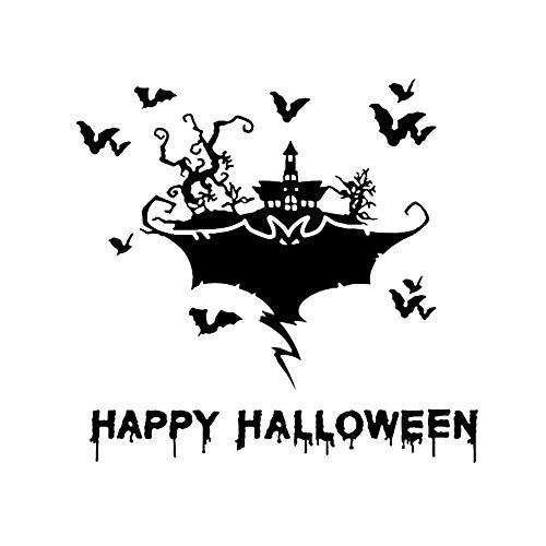JXLK 17,2 * 16,5 Coolste Halloween Scary Fledermäuse Castle Decor Auto Aufkleber Silhouette Grafik Stoßstange Fenster Vinyl