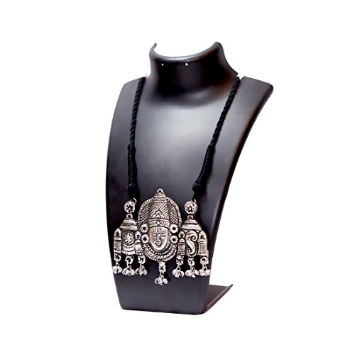 Anigalan Ethnic Lord Venkatesha Big Size Pendant Threaded Silver Oxidized Necklace  Jewellery for Women eacb6be87d