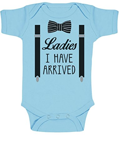 Ladies I have Arrived - Witziges Baby Motiv Baby Body Kurzarm-Body Newborn Hellblau