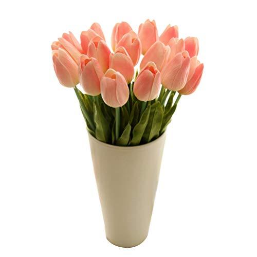 BESPORTBLE Künstliche Tulpen Real Touch Tulpen Blumen Faux Tulip Blumen für Hochzeit Home Party Balkon Hof Bar Dekoration (Champagner)