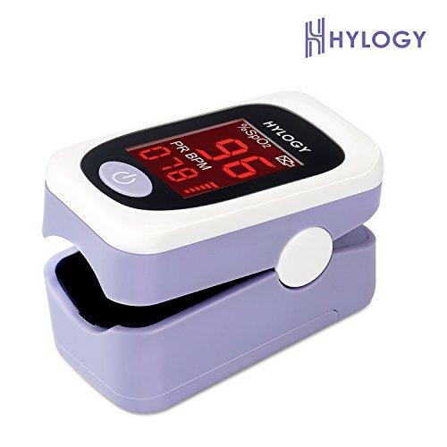 Hylogy Pulsoximeter Finger, Pulsmesser, Pulsmessgerät, Sauerstoffsättigung Messgerät mit LED-Anzeige und Tragetasche