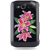 """GRÜV Premium Case - Design """"Rosa Lilienblüten"""" - Qualitativ Hochwertiger Druck Schwarze Hülle - für HTC G13 Wildfire S"""