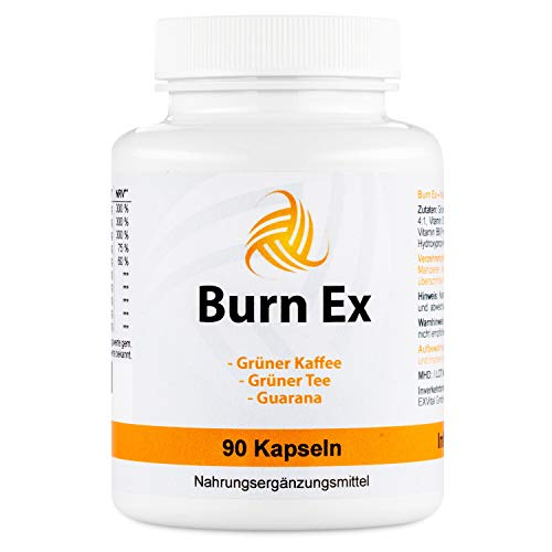 Burn Ex, Grüner Kaffee Extrakt mit Chlorogensäure, 90 grüner Kaffee Kapseln (wenig Kalorien zur Diät geeignet), 1800 mg grüner Kaffee Extrakt + Grüner Tee + Guarana, 1er Pack (1x 79g)