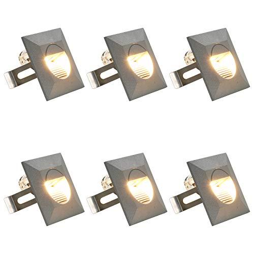 vidaXL 6x Außenleuchte Wandleuchte Gartenlampe Gartenleuchte Treppenleuchte Treppenbeleuchtung Stufenlicht Wand Einbauleuchte LED 5 W Silbern Quadratisch
